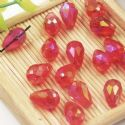 Beads, Selenial Crystal, Crystal, Burgandy AB, Faceted Teardrops, 8mm x 12mm, 1 Bead, [ZZS0011]